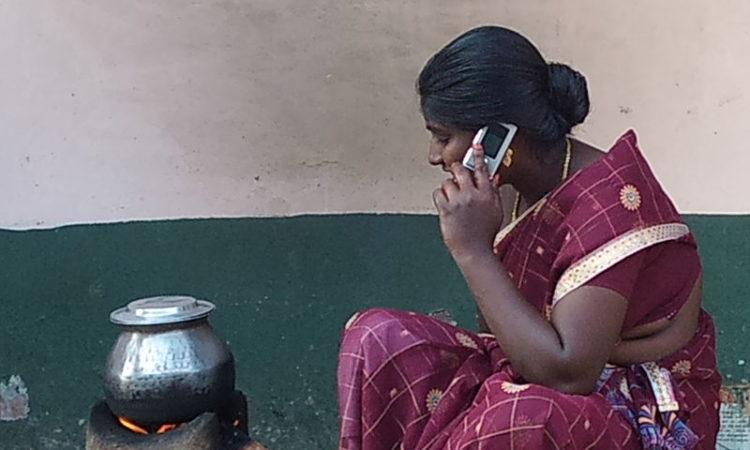 rural woman phone