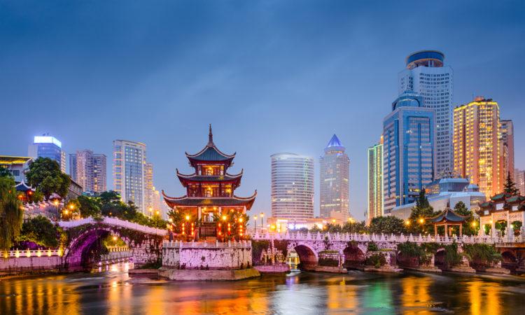 Guiyang, China skyline at Jiaxiu Pavilion on the Nanming River.