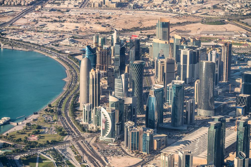 Aerial view of Doha skyline, Qatar.