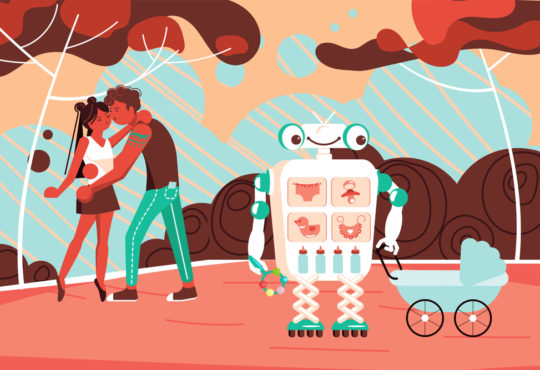 Robot Assistant walks with a baby in a stroller in the park, young parents kiss. Flat Art Vector illustration