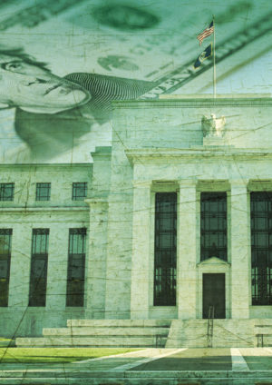 The Federal Reserve building in Washington DC superimposed on a twenty dollar bill and a grunge texture background