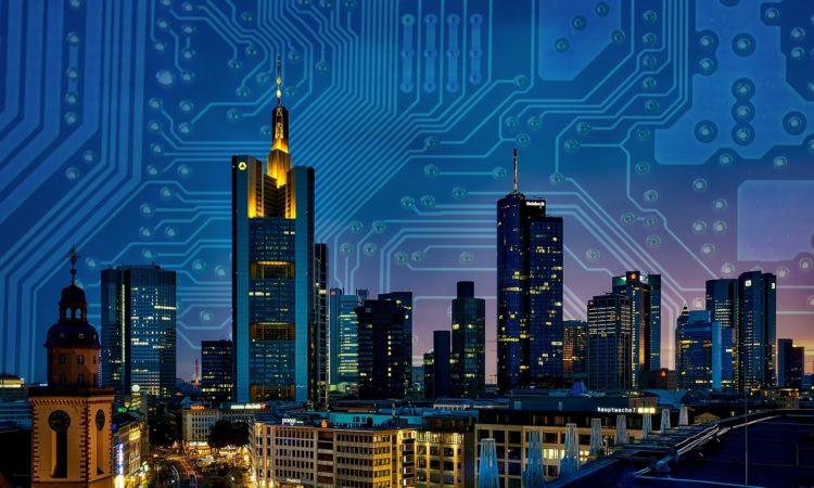 Smart city in evening