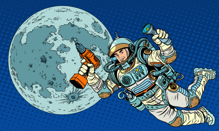 Astronaut with a drill and flashlight on the Moon pop art retro style. Repairs and construction. Colonization of the moon and other planets