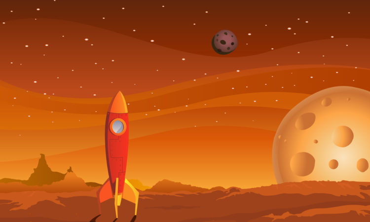 Illustration of a cartoon spaceship landing on martian red desert landscape