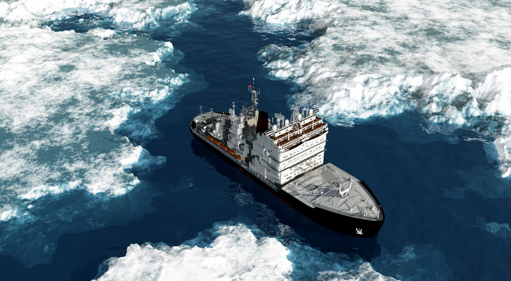 Icebreaker ship on the ice in the sea.