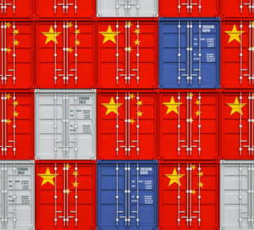 3d image of classic container with china flag