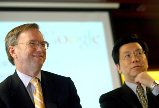 Eric Schmidt (L) and Kaifu Lee (Li Kaifu), President of Google China, in Beijing March 17, 2008