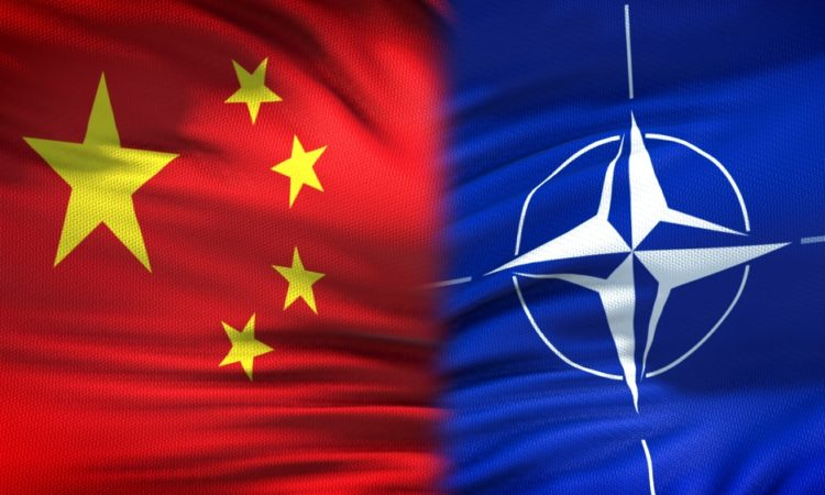 China and NATO flags
