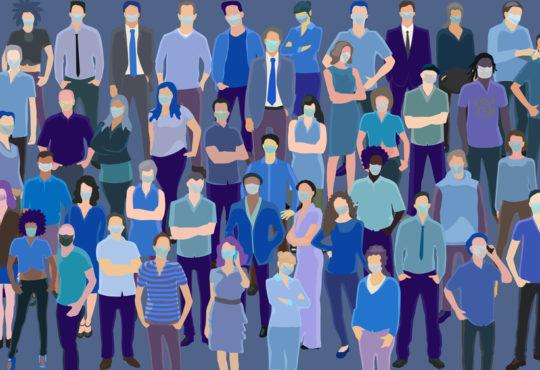 covid-19 illustration people wearing masks