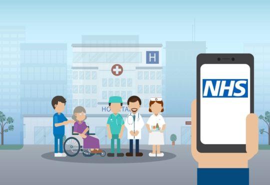 Elder care concept with medical staffs take care of elder patient and blank screen mobile phone flat design vector illustration