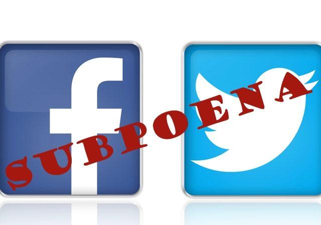 subpoena twitter facebook
