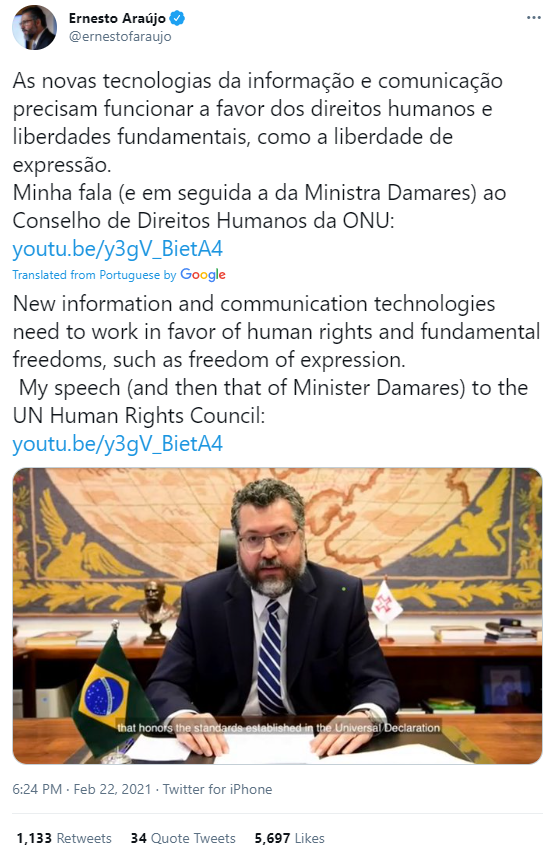 'We cannot accept a lockdown of the human spirit': Brazilian minister warns UN of techno-totalitarian surveillance & censorship
