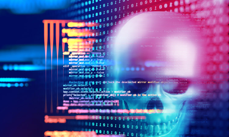 3d rendering of skull on technology background represent internet security and cyber criminal